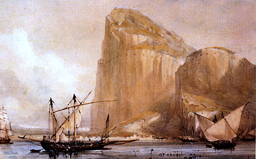 19th Century painting of the Rock of Gibraltar.